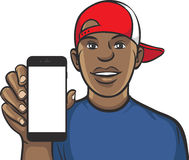 Black guy in cap showing a mobile app on a smart phone. Vector Layered Illustration Stock Photos