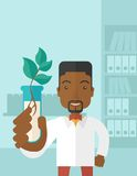 Black guy Chemist with tube and eco leaves Royalty Free Stock Image