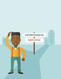 Black guy confused with enterpreneur or employee Royalty Free Stock Photo