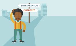 Black guy confused with enterpreneur or employee Stock Photo