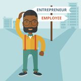 Black guy confused with enterpreneur or employee Stock Image