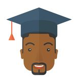 Black guy head with graduation cap Stock Images