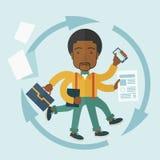 Black guy with multitasking job Royalty Free Stock Image