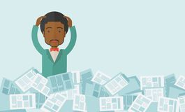 Black guy with paper works around him Royalty Free Stock Image