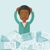 Black guy with paper works around him Stock Images