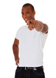 Black guy points with finger Royalty Free Stock Image
