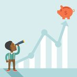 Black guy with telescope to see the graph vector illustration