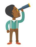 Black guy with telescope to see something up in Stock Image