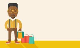 Black guy who go shopping Royalty Free Stock Photos
