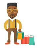 Black guy who go shopping Stock Photography