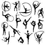 Black Gymnastics Female Silhouettes. Set of black silhouettes of gymnast female figures with balls and tapes on white background  vector illustration Stock Image
