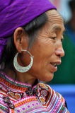 Black H'mong minority woman in the Bac Ha market, Vietnam Royalty Free Stock Image