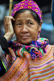 Black H'mong minority woman in the Bac Ha market, Vietnam Royalty Free Stock Images