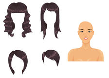 Black hair assortment. Assortment of black hairstyles and Asian girl Royalty Free Stock Photography