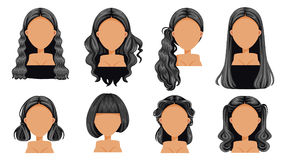 Black hair. Beautiful hairstyle Black hair woman set. modern fashion for assortment. long hair, short hair, fringe. curly hair salon hairstyles and trendy royalty free illustration