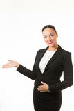 Black hair business woman holding hand up Stock Photos