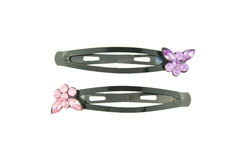 Black hair clip with pink and purple butterfly isolated Stock Image