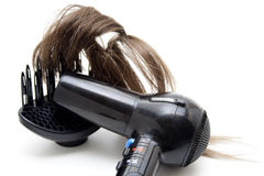Black hair drier with wig Stock Photography