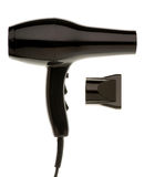 Black Hair Dryer. Isolated on white background Stock Images