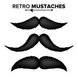 Black Hair Mustaches Vector. Vintage Facial Element. Isolated Retro Set Illustration. Hair Mustaches Set Vector. Barber Shop. Funny Curly Black Mustache Stock Photo