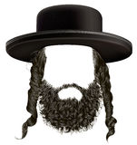 Black  hair sidelocks with beard  mask wig jew hassid in hat . Stock Image