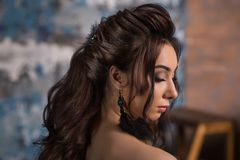Black hair woman. Beautiful brunette hairstyle fashion portrait with beauty long feather earrings andblack hair over royalty free stock image