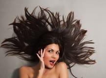 Black hair woman close-up Stock Photography
