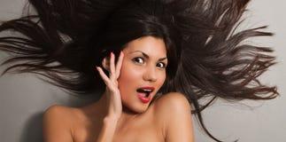 Black hair woman close-up Stock Image
