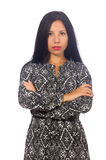 The black hair woman in long gray dress isolated on white Stock Image