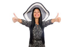 The black hair woman in long gray dress isolated on white Stock Photo