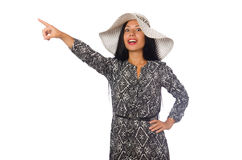 The black hair woman in long gray dress isolated on white Royalty Free Stock Image