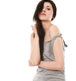 Black hair young woman Royalty Free Stock Image
