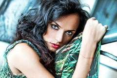 Black hair young woman portrait Royalty Free Stock Image
