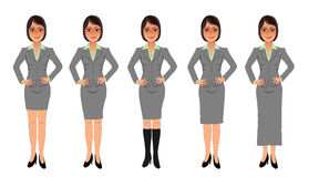 Black-haired business woman grey skirt suit hands on hips. Black-haired business woman with sassy smile, hands on hips, wearing grey skirt suit of various Stock Images