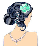 The black-haired girl with a wedding hairstyle. Vector illustration Stock Photography