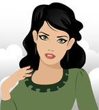 Black haired green eyed girl Royalty Free Stock Photography