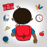 Black haired or latin boy going to school Royalty Free Stock Image
