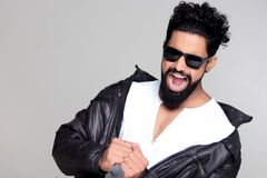 Black Haired Man Wearing Black Sunglasses and Black Leather Jacket Royalty Free Stock Images