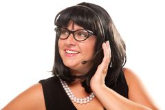 Black Haired Retro Receptionist Royalty Free Stock Photography
