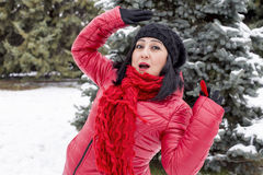 Black-haired Turkish women posing on a snowy day in a forest Royalty Free Stock Photography