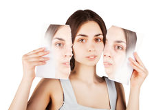 Black  haired woman breaks her old skin portrait Stock Photos