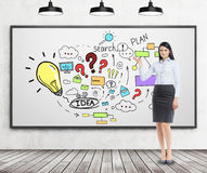 Black haired woman is demonstrating business idea icons Stock Photography