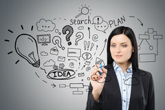 Black haired woman is drawing a business idea sketch on a glassb Stock Images