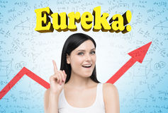 Black haired woman, eureka, red graph Royalty Free Stock Photography