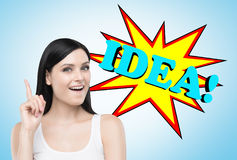 Black haired woman and her bright idea Stock Images