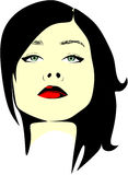 Black-haired woman with raised head and red lipstick Royalty Free Stock Image