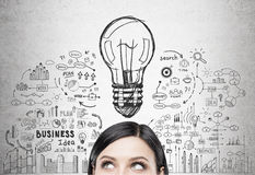 Black haired woman s head and business idea Royalty Free Stock Images