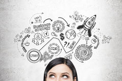 Black haired woman and start up sketch Stock Images