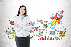 Black haired woman and start up sketch Stock Photo