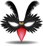 Black halfmask with feather Royalty Free Stock Images